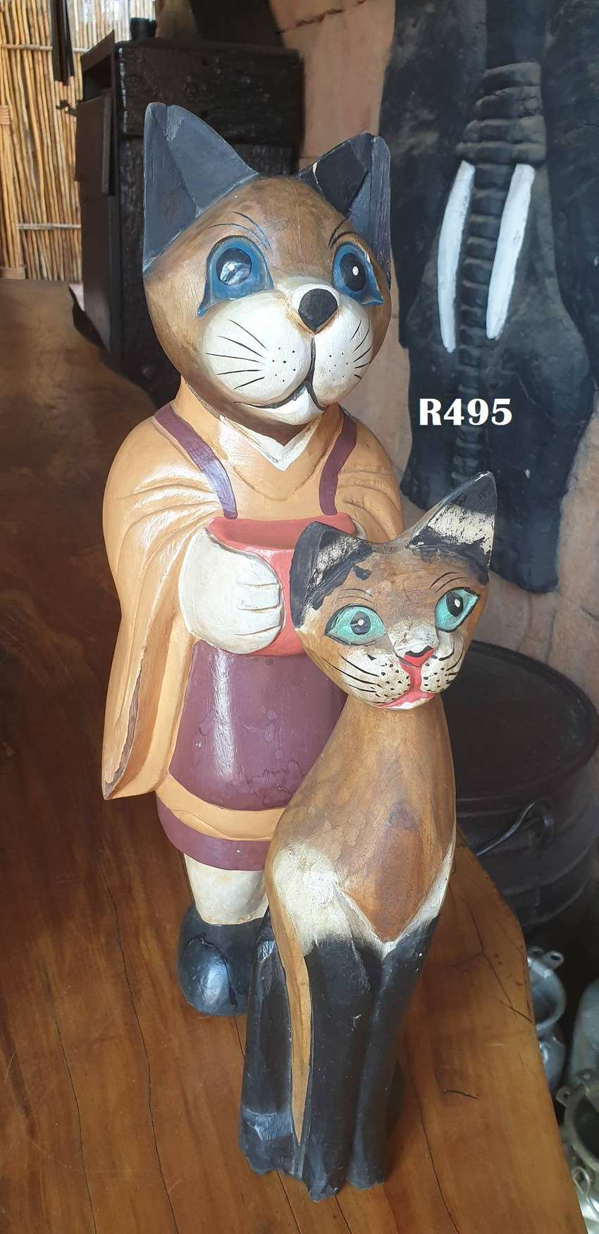 Pair of Wooden House Cats (520mm and 390mm high) 0