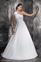 Suknia ślubna sukienka na 1 ramię klasycznie piękna 34 36 XS S krem