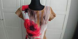 Sukienka brązowa w kwiaty