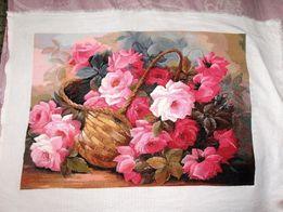 Вышитая картина нитками Корзина роз