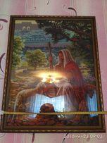 Картина вишита нитками (Образ) Ісус і ягня.