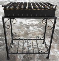 Мангал кованый сталь 4 мм на стойке с дровницей на 10 шампуров ПОДАРОК