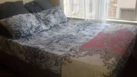 Queen size bed with base, a free base cover and two free big pillows