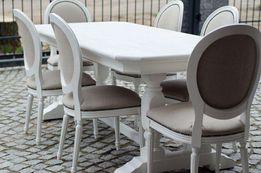 stół z krzesłami medaliony w stylu prowansalskim, shabby chic
