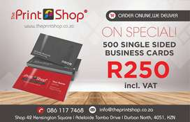 500 Single Sided Business Cards on Special - Only R250