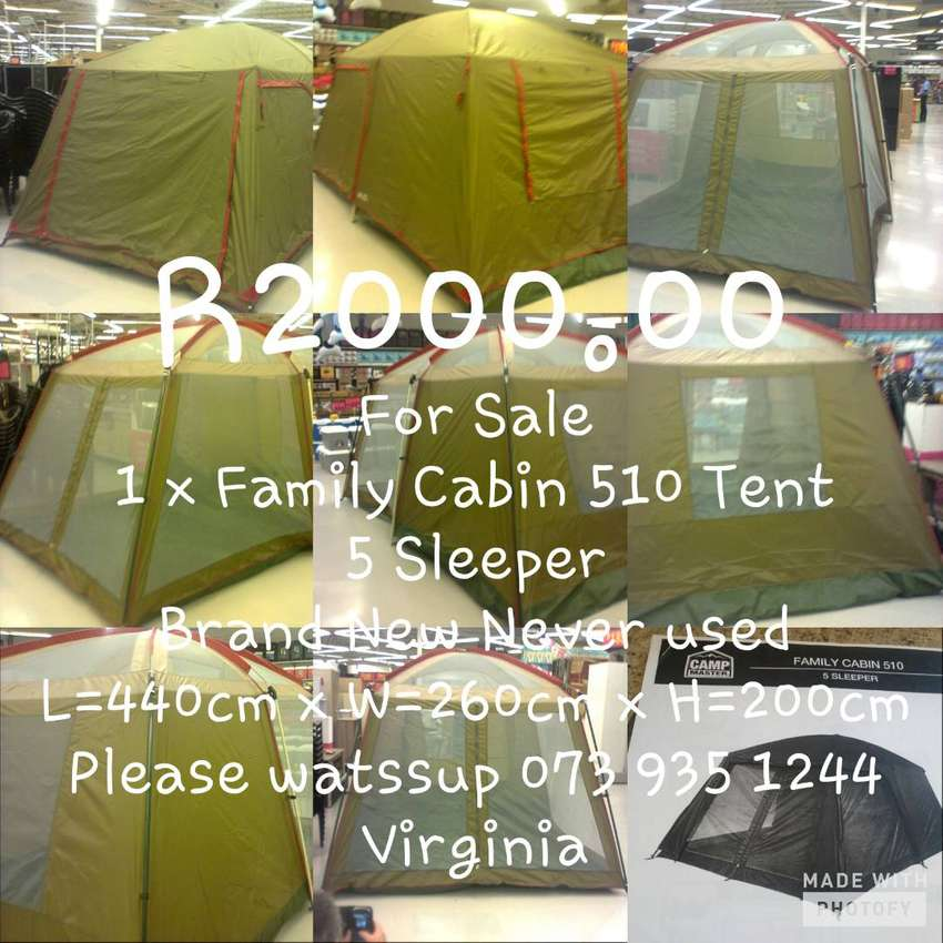 1 x Family Cabin 510 Tent 5 Sleeper Brand New never used. 0
