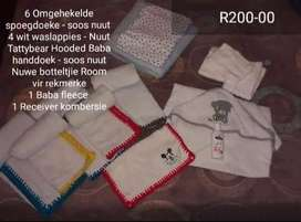 Crocheted burping cloths, face cloths, Hooded baby towel and more