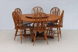 8 Piece Mid Century Cottage Style Round Dining Room Suite
