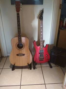 Tanglewood acoustic guitar & Ritmüller electric guitar with accessorie