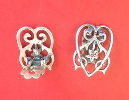Кліпси кульчики, срібні старовинні, в формі серця