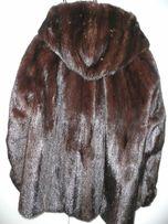 Полупальто Saga Furs Темно коричневая норка с капюшоном, 44 - 48 разм