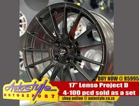 17inch Lenso Project D 4-100 pcd sold as a set of four excluding tires