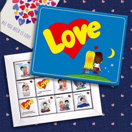 Шоколадный набор LOVE IS красный синий
