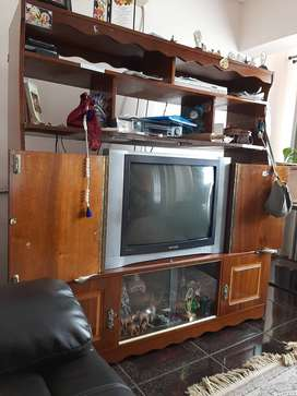 Television  cabinet  and imbuia finish cupboard.