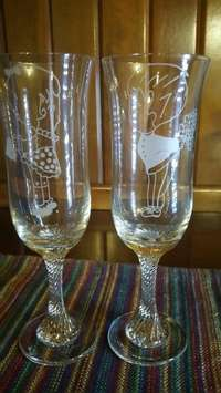 Image of Set of His & Her's Champagne Crystal Glasses