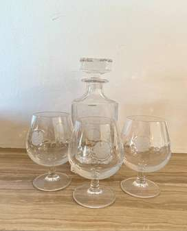 Handcut VItria Lead Crystal Whiskey Bottle and Glasses