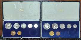 2 x 1984 Proof sets Nickel R1 to 1c