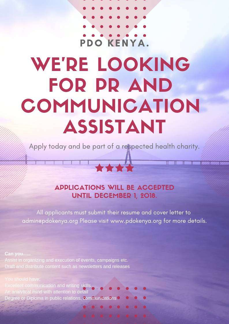 PR and Communication Assistant wanted in Nakuru 0