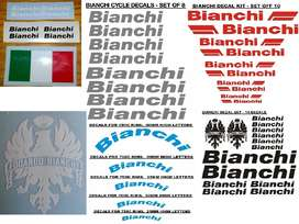 Bianchi bicycle frame and rim decals sticker kits