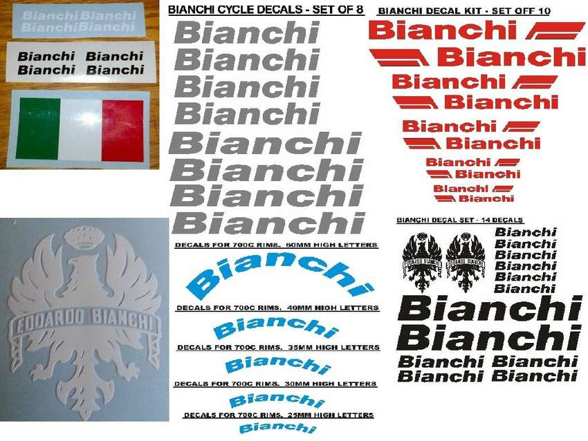 Bianchi bicycle frame and rim decals sticker kits 0