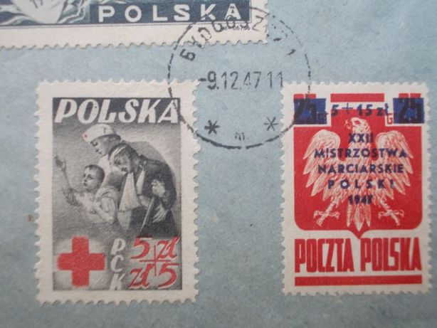 Koperta, tzw. R-ka, z wieloma cennymi znaczkami z 1945 i 1947 roku. Bydgoszcz - image 5