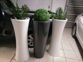 Pots with artificial tree