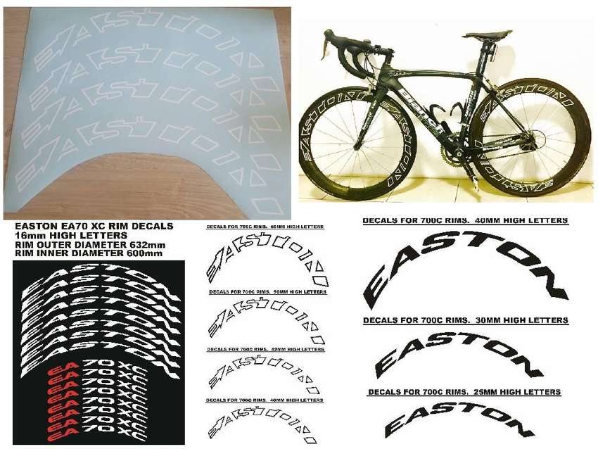 Easton bicycle rim decals stickers kits 0