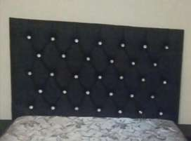 New black faux leather headboard with crystal buttons