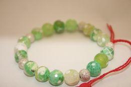 Bransoletka MoMo Design Idealny Prezent Walentynki Zielono Biały Agat