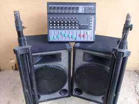 Sound system with mic stand