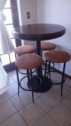 Teak bar table and 4 chairs