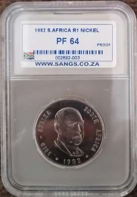 1977 to 1983 Graded Proof Nickel R1 set - Valued at R84000