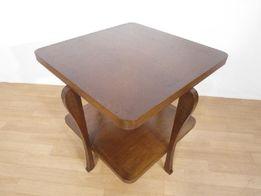 Kwadratowy stolik kawowy w idealnym stanie, ława drewniana Art Deco