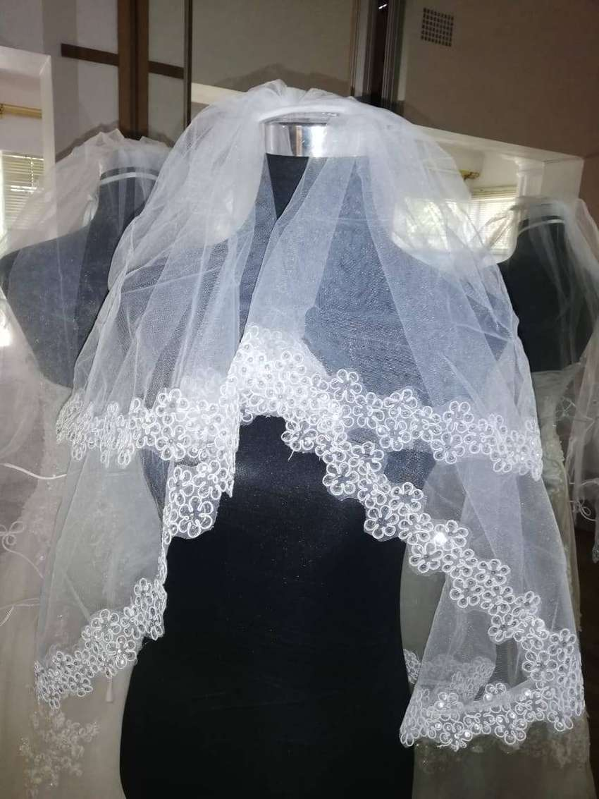 Wedding dress and veil for sale 0