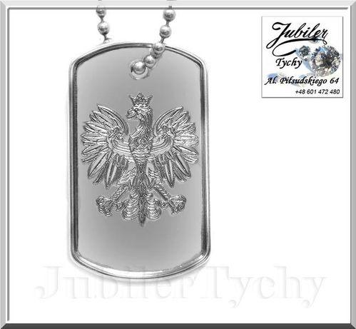 Nieśmiertelnik orzełek srebrny duży wisior z orłem Orzeł Polska Godło Tychy - image 1