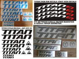 TITAN bicycle frame and rim decals stickers graphics sets