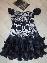 Выпускное черно-белое платье с бижутерией 42-46 размер