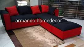 New red and black fabric corner couch