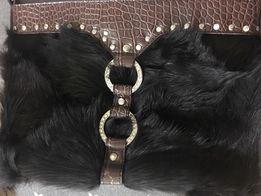 Nowa torebka damska skóra futro naturalne kopertówka brąz brązowa