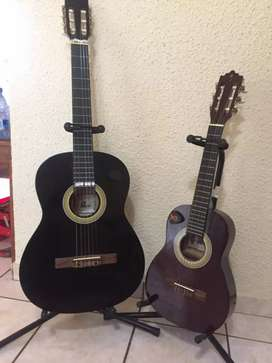 Palmer guitar and junior guitar with stands