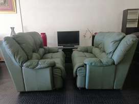 2 x 2 seaters Full Round Genuine Leather Couches