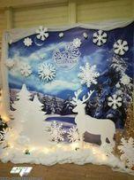Новогодний декор, оформление витрин (снежинки,елки,снеговик,деревья)