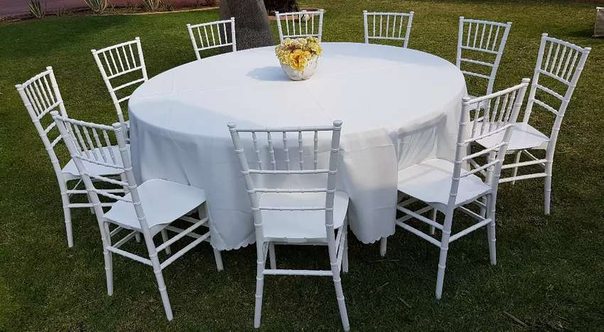 White Pole Tents, Tiffany Resin Chair & Tables Hire 0
