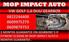 VW GOLF 1.6 DUU GEARBOXES