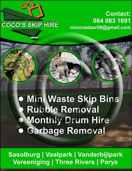 Mini waste skip bins for hire and rubble removal