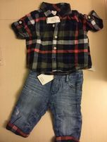 Фирменный комплект рубашка в клетку и джинсы с отворотами GAP 6-12 мес