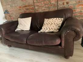 Coricraft Brown Leather Couch