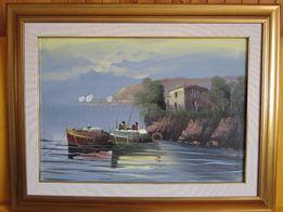 Piękny obraz olejny Basilio Pinet 1995 Krajobraz morski