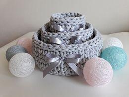 Koszyki okrągłe ze sznurka bawełnianego - komplet 3 sztuk-Promocja!