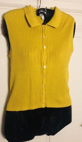 Bluzka sweter bez rękawów musztardowy żółty M/38 guziki Bydgoszcz - image 4